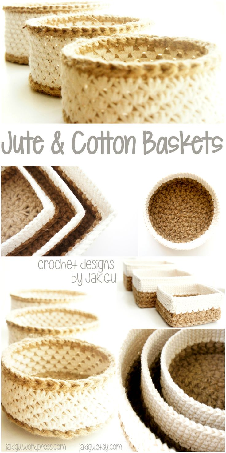 How pretty are these? Perfect crochet project for the gift-giving season! Stacking baskets made with natural fibers. #jute #cotton #crochet #basket #discount