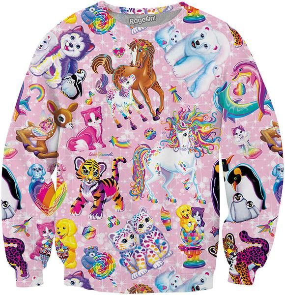 Cute Lisa Frank Character Collage Vibrant Animals Sweatshirt! Order yours https://www.rageon.com/products/character-collage-sweatshirt?aff=HcrD  lisa frank clothing, posters, shirts, stickers, coloring books, supplies, pants, and art!