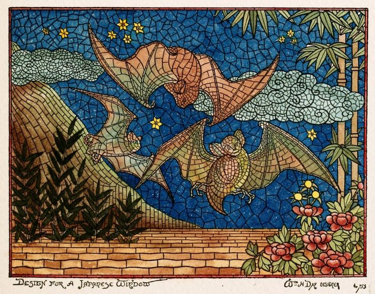Gorgeous Nature-Themed Stained-Glass Mosaics, Sold to Victorian Builders | Bats