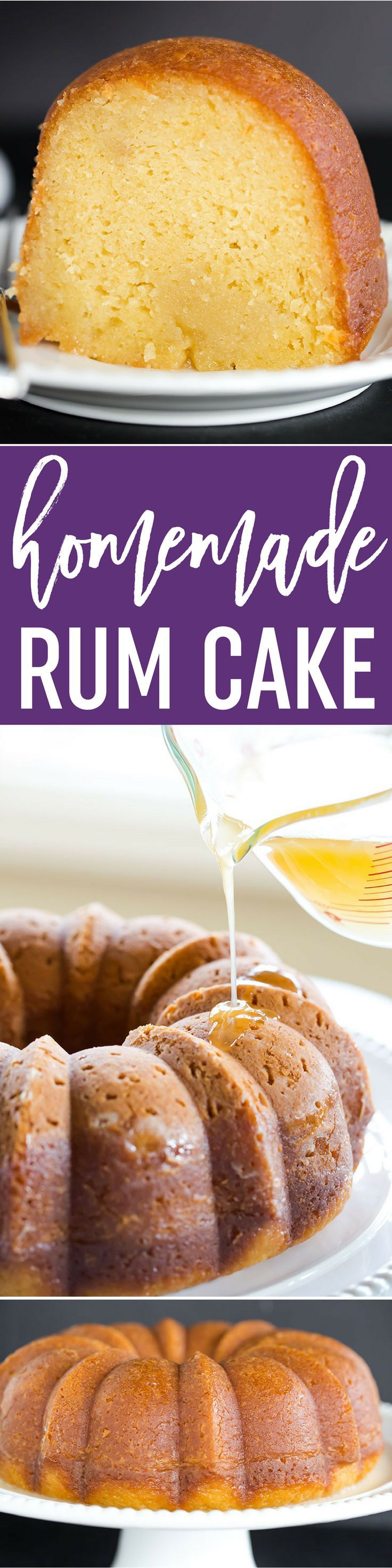This rum cake is made completely from scratch, has the most tender, moist crumb, and is drenched in rum flavor without being overpowering. via @browneyedbaker (Dessert Recipes From Scratch)