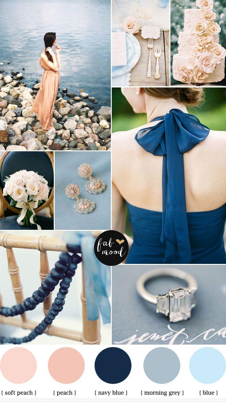 Blue Grey Navy Blue and Peach Wedding colours palette - beach wedding inspiration