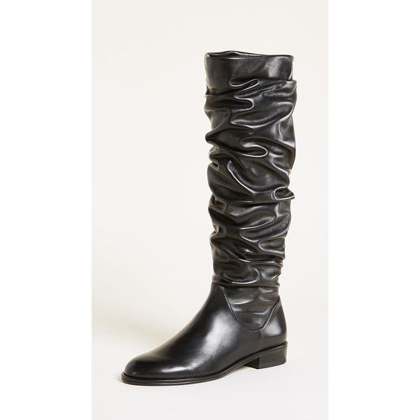 Stuart Weitzman Flatscrunchy Boots (50,410 INR) ❤ liked on Polyvore featuring shoes, boots, knee-high boots, stuart weitzman knee high boots, leather boots, stretch knee high boots and stretch-leather boots