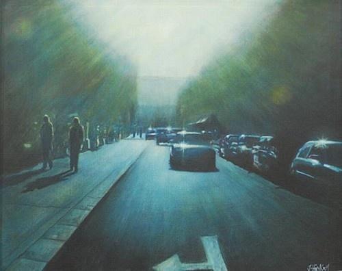 Joby Hickey ''Returning Home, Dublin'' #Dublin #cars #painting #Ireland