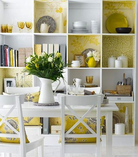 refreshing - IKEA Expedit shelving with papered walls!