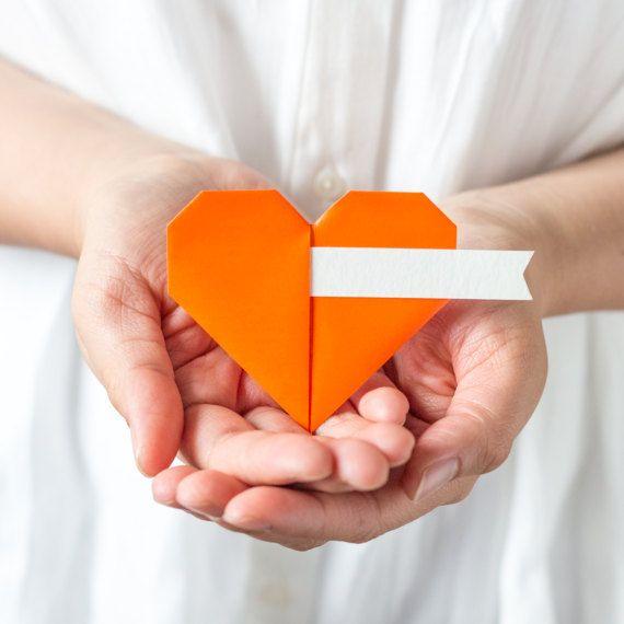 Orange Origami Paper Sweetheart Placecards Spring by NANAZOOLAN