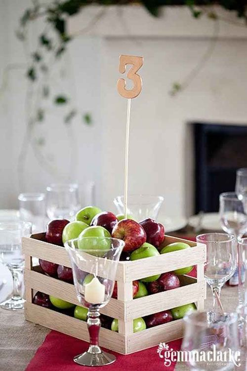 Apple centrepiece, seasonal and cheap to do if there is an apple tree in your garden #weditionhoptips www.wedition.co.uk