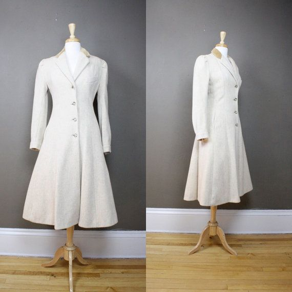 1940s wool princess coat / vintage boucle coat / by CommonNames