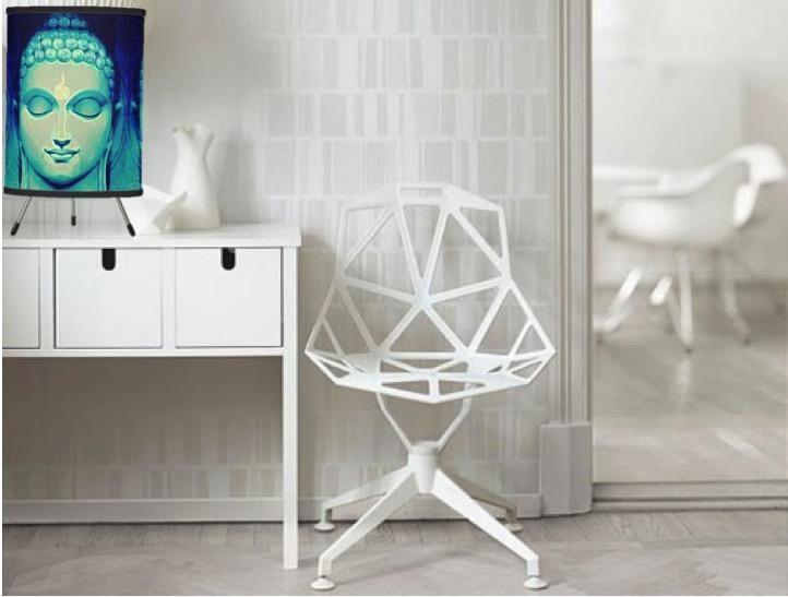 Desk Lamp- buddha. Table lampshade- linen. Ethic decor ornament. Ethni – Artikrti