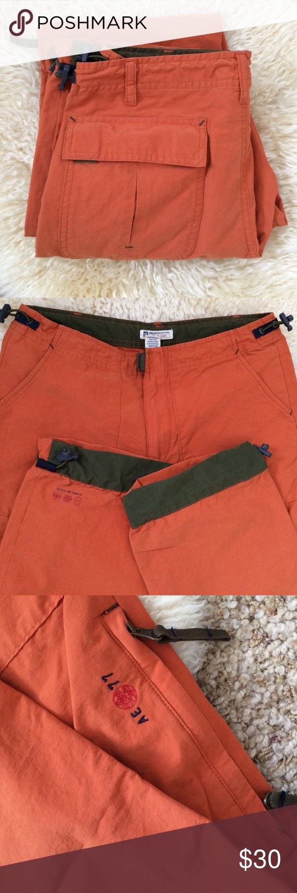"""AEO Flight Cargo Pants Excellent pair of Cargos for hiking and mountain activities. Good condition, no stains or holes and have minor fading.  30"""" inseam. Top across measures 13.5"""" (so 27"""" waist) with the drawstrings undone, but they run small so will fit 23-25"""" waists best in my opinion. American Eagle Outfitters Pants Straight Leg"""
