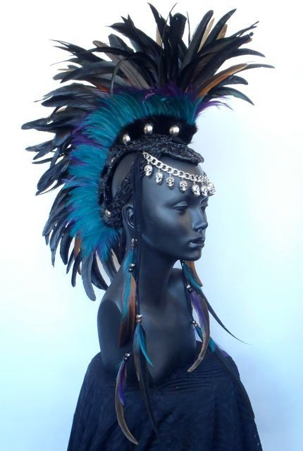 Made to Order Midsize Warrior Feather Mohawk with Horn Option. $400.00, via Etsy.