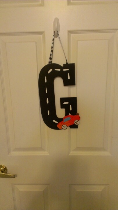 Letter for my sons cars room.
