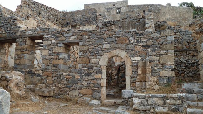 Abandoned structures in Spinalonga in Crete, Greece. The island was a Venetian fortress and later a leper colony.
