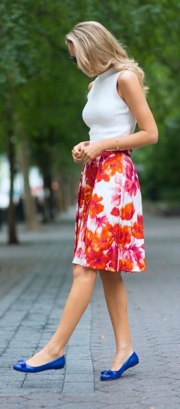 white knit crop top, orange and red floral midi skirt + cobalt ferragamo ballet flats