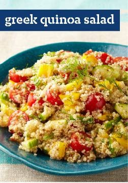 Greek Quinoa Salad – This Greek quinoa salad isn't just tasty—it's good-looking, too, with halved cherry tomatoes, yellow peppers, and shreds of chopped fresh dill.