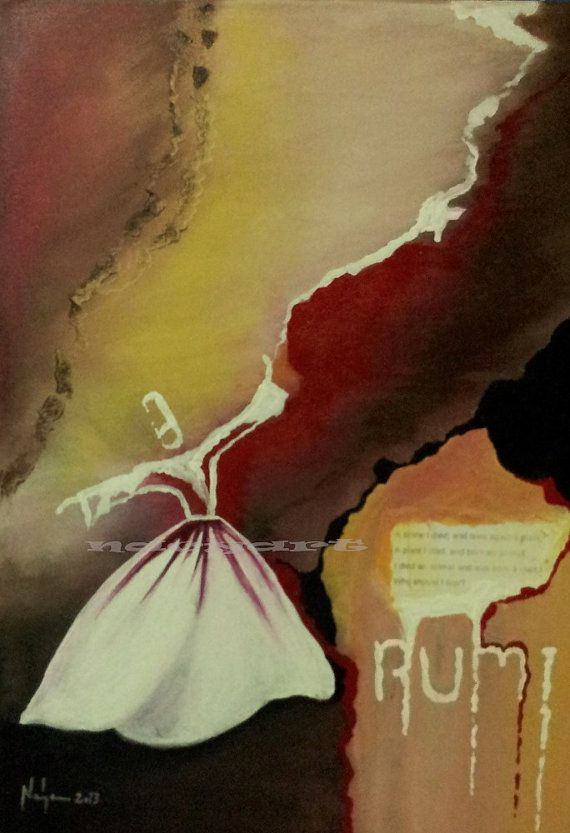 Whirling Dervish, Free Shipping, spinning dervish, rumi, semazen, acrylic painting, large