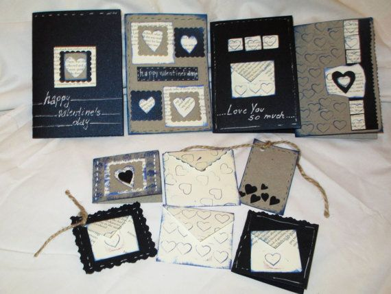 "Valentine Romantic Handmade up-cycled dark blue by NIKscrapbooking. Beautifull handmade set of cards and envelopes in dark and gray colors with using up-cycled old book ""Emma"" by Jane Austen. Wonderfull !!! Ready to Ship."