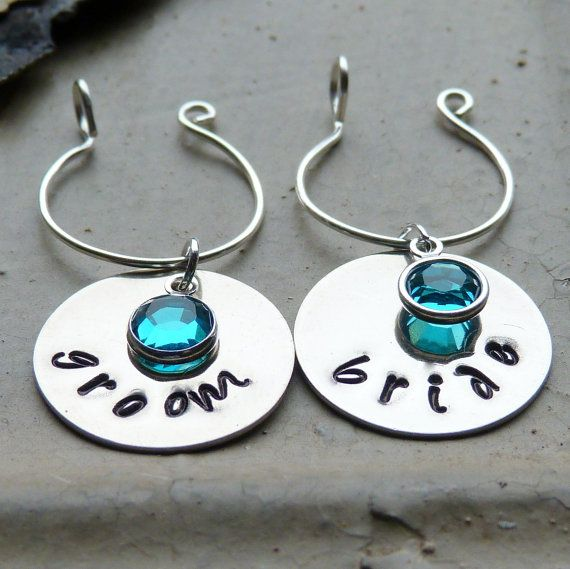 Personalized Set Handstamped Bride & Groom Metal Wine Glass Charms, $20