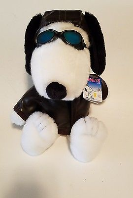 "SOLD   15"" Kohls Cares for Kids SNOOPY Aviator Flying Ace Red Baron Plush Goggles  NWT"