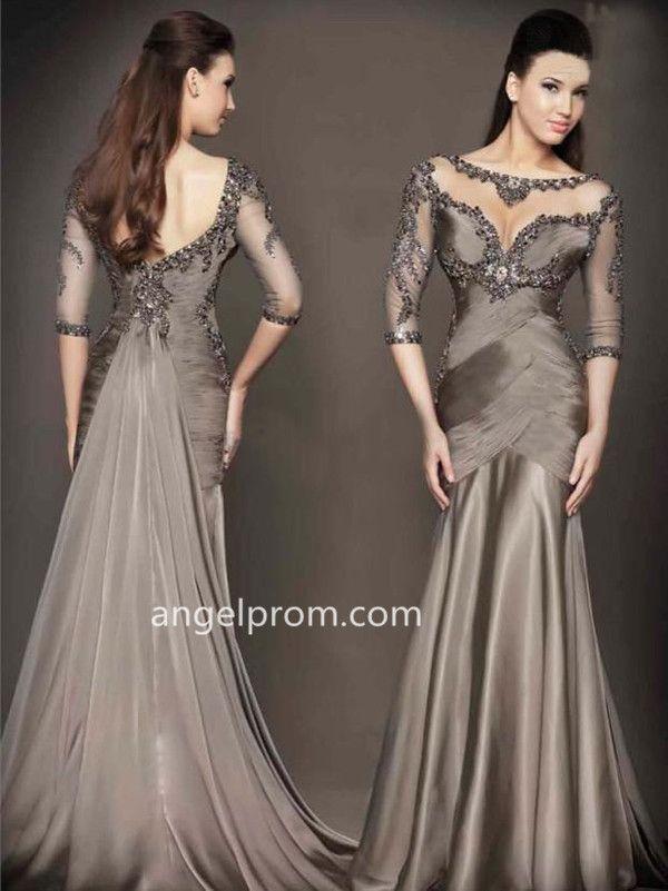 2015 Style Trumpet/Mermaid Sweep/Brush Train Chiffon Prom Dresses/Evening Dresses