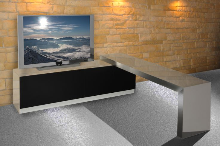 MOVIMENT-0 LINE, Model 360. #wooden #TVstand in lacquered MDF #wood. Lacquered #metal covers and rotating #inoxsteel surface. Ronda Design.