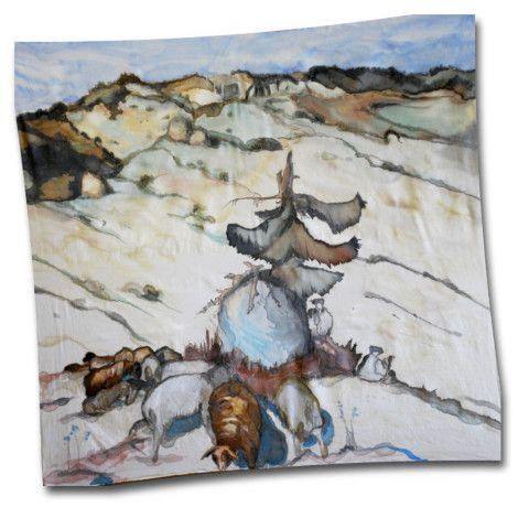 "Hodvábna šatka ""Salaš"" s motívom od svetoznámeho maliara, grafika a ilustrátora Martina Benku. http://bit.ly/1mzA4WU"