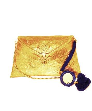 Embossed Gold Clutch Bag With Blue Mirror Detail Tassels #ohnineone