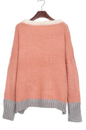 White Neck Contrast Grey Hem Batwing Sleeve Pink Sweater - Sheinside.com