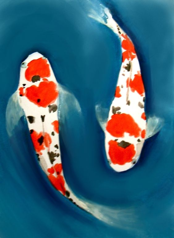 Japanese fish painting for Japanese koi carp paintings