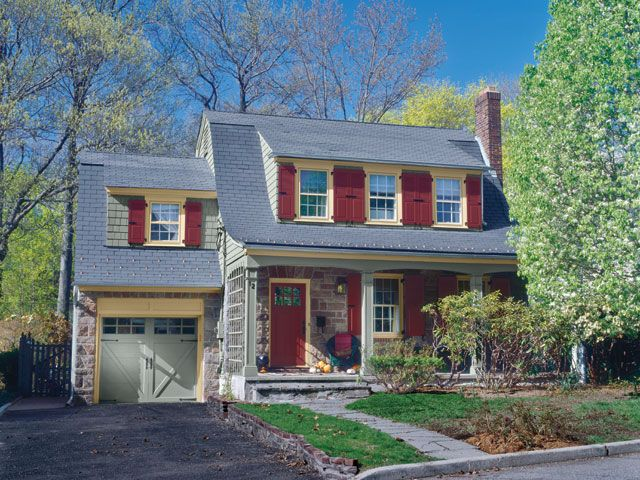 9 Jaw Dropping Home Exterior Makeovers Dutch Colonial Homes Red Shutters And Vintage Colors
