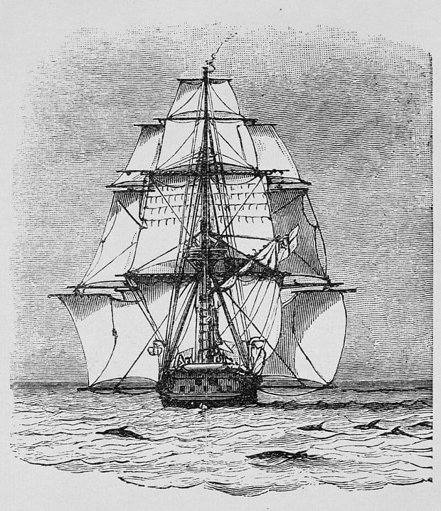 A drawing of the HMS Beagle