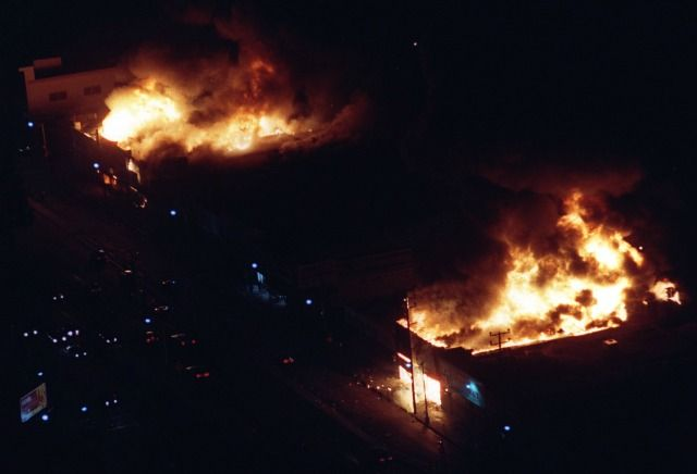 """The """"Rodney King Riots,"""" also known as the """"Los Angeles Riots,"""" began April 29, 1992, after four Los Angeles Police Department (LAPD) officers were acquitted of charges in the savage beating of Rodney King."""