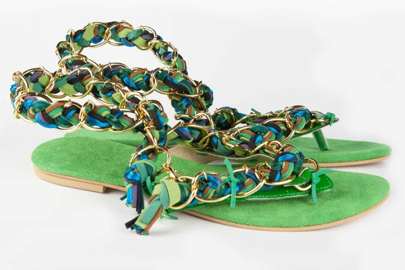 Jeweled leather sandal Pavo
