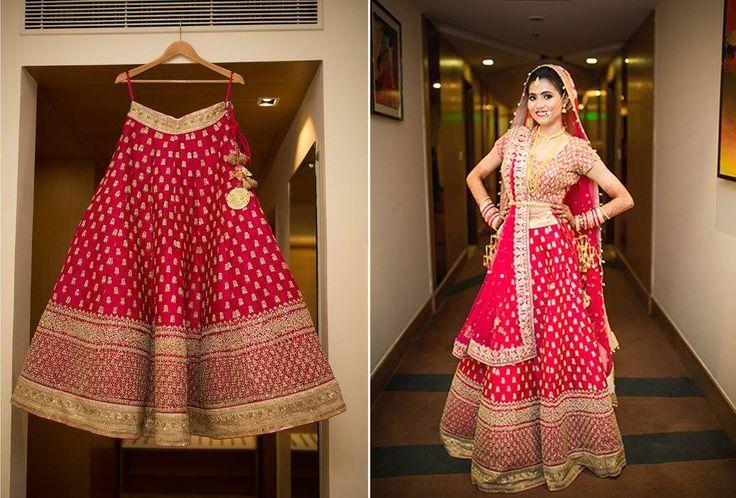 A Crimson & gold lehenga from Asiana Couture, Delhi NCR for Bride Neha Kardam of WeddingSutra. Photos Courtesy- Dhiraj Amritraj: Artwork and Photography