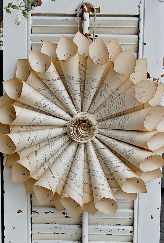 Book Page Wreath by MarylinJ