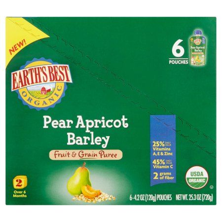 Earth's Best Organic Pear Apricot Barley Fruit & Grain Puree 2 Over 6 Months, 4.2 oz, 6 pack