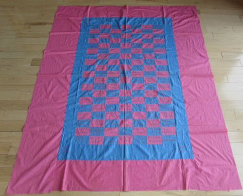 "Country 1930s Friendship Quilt Top Many Embroidered Names Pink Blue Pennsylvania | eBay gb-best, possibly made for a benefit, many local Dutch names, 92"" x 72"", Berk's County, PA estate, names include: Mrs. Stella Bowman, Mrs. Rachell Fetterhoff, Devona Smith, Kenneth Corsnitz, Mr. & Mrs. Raymond Trewson, Mrs. Forest Schoffstall, Sara Dauberman"