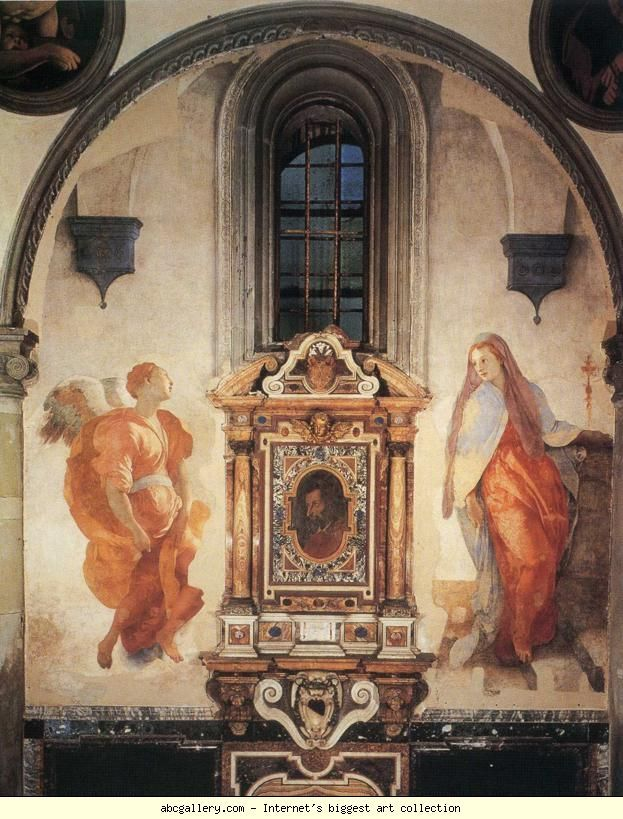Pontormo. Annunciation. 1527-1528. Fresco. 368 x 168 cm. Santa Felicita, Cappella Capponi, Florence, Italy