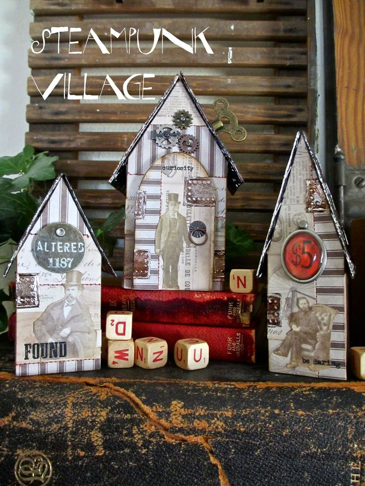 I have a fun tutorial on Simon Says Stamp blog  today.  A Steampunk Village!  I thought I would share some closeup photos of the little hous...
