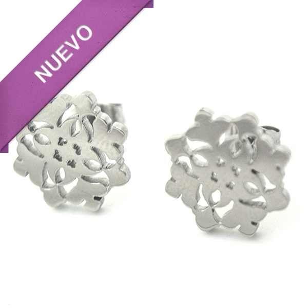 Joyas de Acero-Aros-EA0807. Aro de acero con diseño en filigrana, diámetro 1,5 cml