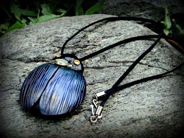 polymer clay scarab necklace | Flickr - Photo Sharing!