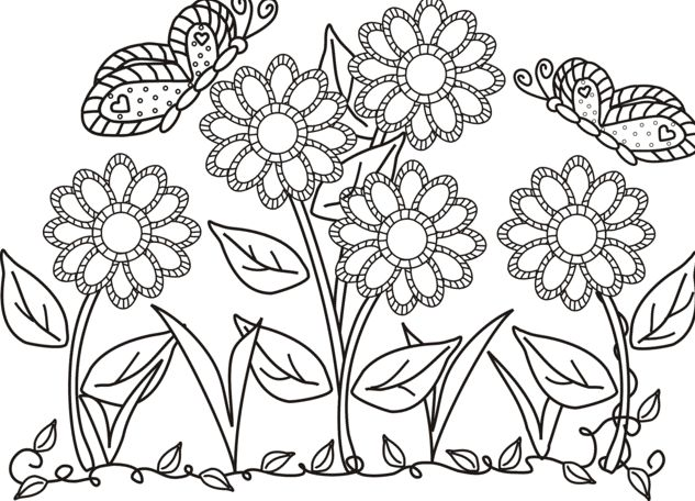 butterfly and flower in the garden colouring butterfly cartoon coloring pages kids colour in. Black Bedroom Furniture Sets. Home Design Ideas
