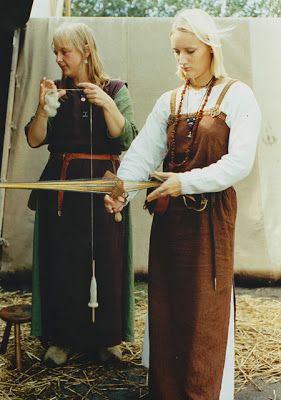Spinning on a drop spindle-- Viking