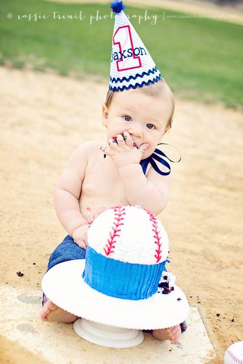 baseball cake smash session baseball birthday
