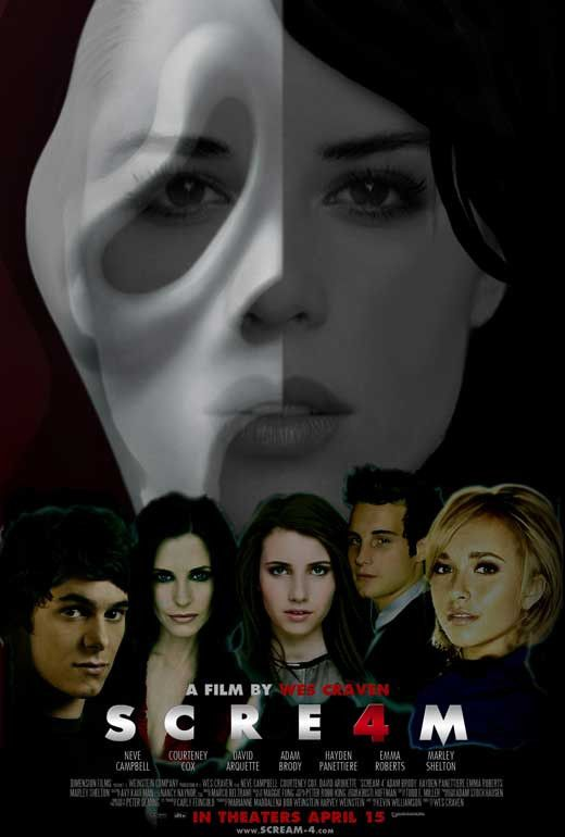 "CAST: David Arquette, Neve Campbell, Courteney Cox, Emma Roberts, Hayden Panettiere; DIRECTED BY: Wes Craven; PRODUCER: Iya Labunka Wes Craven; Features: - 27"" x 40"" - Packaged with care - ships in st"