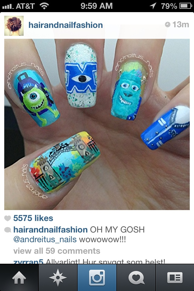 Julie you should do my nails like this for the monsters inc university comes out lol