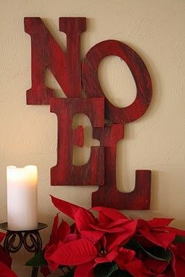 Christmas Decorations #christmas #diy by tamara. Very cute, very easy. Could be done with 'Joy' obviously and with slightly smaller letters and some patience, maybe even 'peace' or 'jingle'.