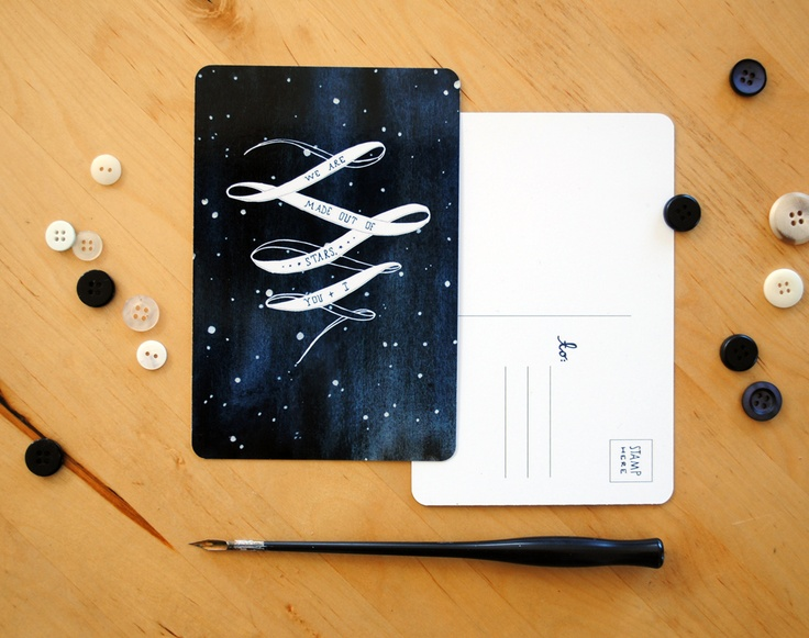 we are made out of stars, cargoh: Art Design Illustrations, Christmas Cards, Diy Postcards, Graphics Design, Meera Lee, Small Gifts, Lee Postcards, Pretty Postcards, Stars Postcards