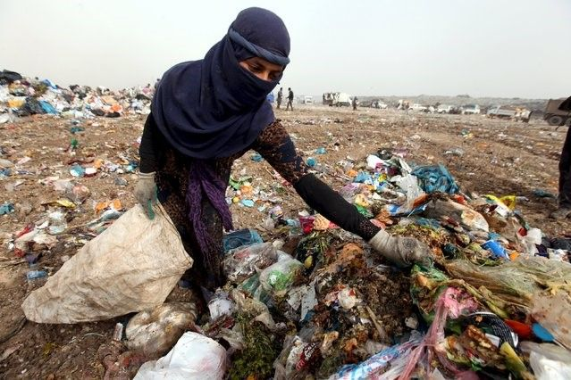 With the increasing number of refugees and the difficult living conditions in the camps in northern Iraq, dozens of Iraqis and Syrians who fled the war are looking into the garbage dump of Erbil in search of all that could be useful or salable: copper, plastic, iron pieces or even old boxes.