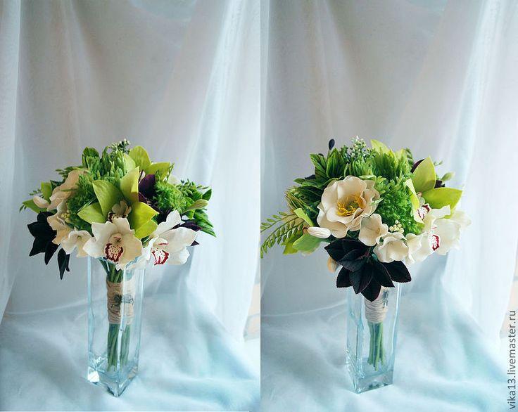 """Купить Свадебный букет """"Мохито"""" - ярко-зелёный, белые цветы, белый цвет, зелёный, бордовый"""