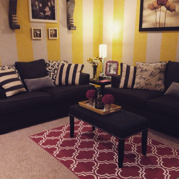 Grey Yellow And Red Living Room Used Bench As A Coffee